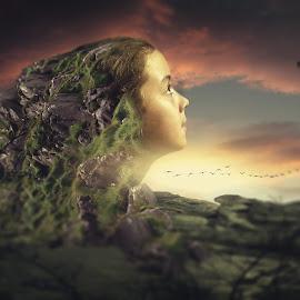 by Simion Tiberiu Stefan - Digital Art People ( face, girl, nature, green, yellow, birds )