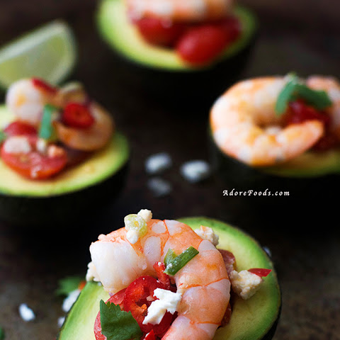 Greek Shrimp Salad Stuffed Avocado