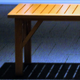 Museum Bench by Leah Zisserson - Artistic Objects Furniture ( wood, bench, blue, museum, shadows )