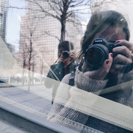 Selfie by Valentina Cantera - People Street & Candids ( glass, reflection, selfie, photographer, reflex )