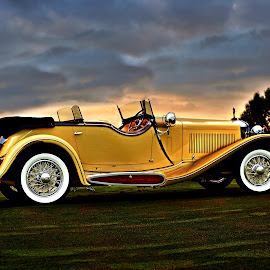 Sunrise at Chateau Elan by JEFFREY LORBER - Transportation Automobiles ( italian car, rust 'n chrome, convertable, yellow car, lorberphoto, concours, whitewall tires )