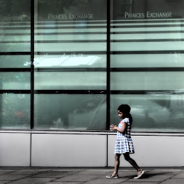 princes exchange by Stephen Carr - City,  Street & Park  Street Scenes ( girl, edinburgh, window, princes, street photography )