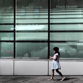 princes exchange by Stephen Carr - City,  Street & Park  Street Scenes ( girl, edinburgh, window, princes, street photography )