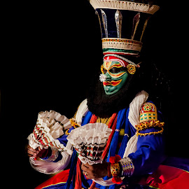 The Face Of The Chronicler-11 by Vijayanand Kandasamy - People Musicians & Entertainers ( face, dance form, kathakali dancer, traditional dance, kerala, painted faces, colours, face colours, colour, kerala traditional dance, tradition, kathakali dance, dance, dancer, kathakali,  )