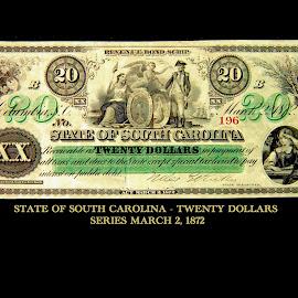 1872 SOUTH CAROLINA TWENTY DOLLAR CURRENCY  by Gerry Slabaugh - Typography Captioned Photos ( twenty dollars, money, south carolina currency, twenty dollar bill, south carolina, currency,  )
