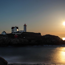 Harvest Moon at The Nubble by Duncan Rea - Landscapes Waterscapes ( moon, nubble, maine, fine art, lighthouse, beacon, travel, light )
