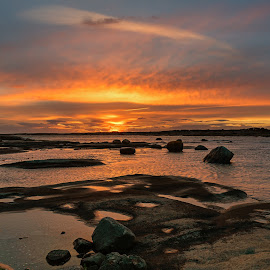 Vikerkilen Sunset by Jørgen Schei - Landscapes Sunsets & Sunrises ( seascape, rocks, sunset, landscape, sea )