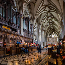 Choir practice at Bristol Cathedral.   by Simon Page - Buildings & Architecture Places of Worship
