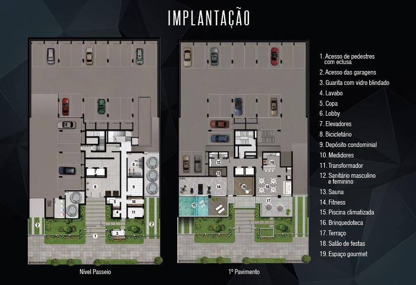 Apartamento com 3 dormitórios, sendo 3 suítes, living 2 ambientes, lareira, churrasqueira, cozinha, área de serviço, lavabo e 2 vagas de garagem.  Infraestrutura com bicicletário, sauna, fitness, piscina, brinquedoteca, salão de festas e espaço gourmet.