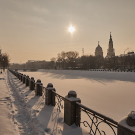 Winter afternoon in Kharkov by Igor Nayda - Buildings & Architecture Other Exteriors ( winter, riverside, promenade, afternoon, snow, day, embankment, waterfront, sun, river )