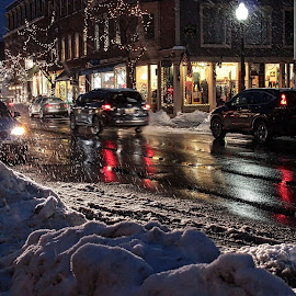 Night Lights by Judy Laliberte - Novices Only Street & Candid ( lights, headlights, snow, reflections, night, wet weather, city at night, street at night, park at night, nightlife, night life, nighttime in the city )