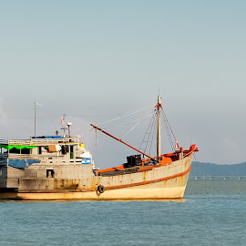 Foreign Ship by Michael Lee - Transportation Boats ( blue sky, ship, sea, bridge, fishing, foreign )