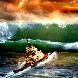 Stormy Weather by Bjørn Borge-Lunde - Digital Art Things ( lightning, thunderstorm, waves, ship, typhoon, boat, surf, storm, fishing boat, hurricane )