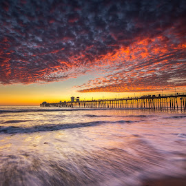 Framed by Evgeny Yorobe - Landscapes Sunsets & Sunrises ( water, oceanside landscape photography, sunset, pier, oceanside pier photos, san diego landscape photography )