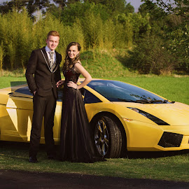 Nice Car by Riaan Roux - People Couples ( car, style, rich, wealthy, yellow, lamborghini )