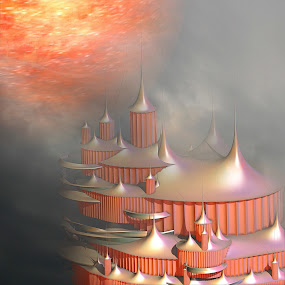 Chevernia by Pam Blackstone - Illustration Sci Fi & Fantasy ( fog mist, orange, incendia, 3d, castle, fractal, sun, 3d fractal,  )