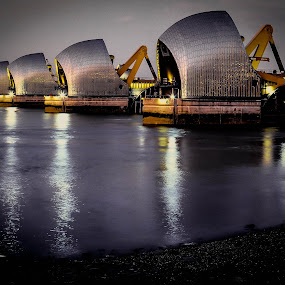 Thames Flood Barrier at Dusk by Phil Clarkstone - Buildings & Architecture Other Exteriors