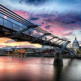Millennium Bridge by Abdul Rehman - City,  Street & Park  Vistas ( clouds, uk, london, sunset, cloudscape, millennium bridge, river thames, river )