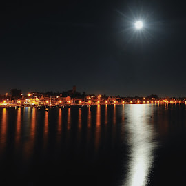 Night Mikolajki by Tomasz Budziak - City,  Street & Park  Night ( night, cityscape, nightscape, city )