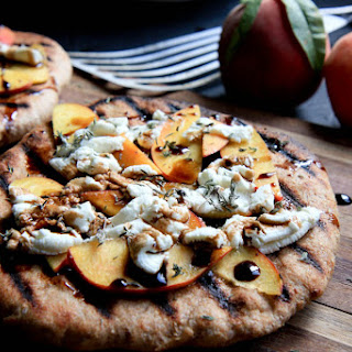 Grilled Peach and Goat Cheese Pizzas
