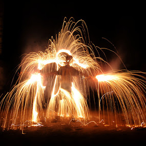 fire man by Mervin Anto - Abstract Fire & Fireworks ( nightlight, pwcfireworks, lightplay, fireman, fireplay, fireworks, light action, fire )