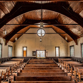 Front To Back by Roy Walter - Buildings & Architecture Places of Worship ( building, church, pews, decay, abandoned )