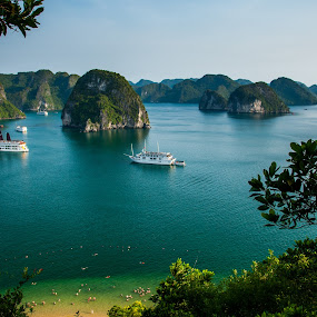 ha long bay by Sorin Tanase - Landscapes Travel ( ha long bay, vietnam, beach, boat, unesco )