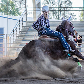 Easy Slide by Sarah Sullivan - Sports & Fitness Other Sports ( barrel racing, dust, dalby, sarah sullivan photography )