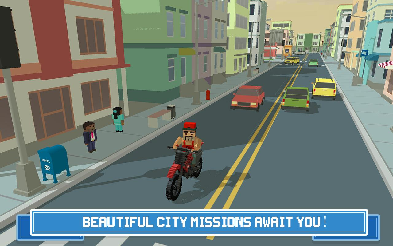 Moto Rider 3D: Blocky City 17 Screenshot 2
