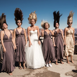 Hair Flip by Richard Michael Lingo - Wedding Groups ( bridal party, wedding, arizona, hair, groups, grand canyon )