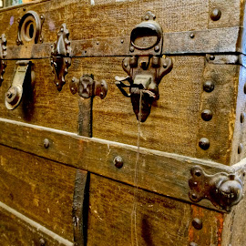 Tired Trunk by Barbara Brock - Artistic Objects Furniture ( old trunk, rustic decor, antique trunk, metal hinges,  )