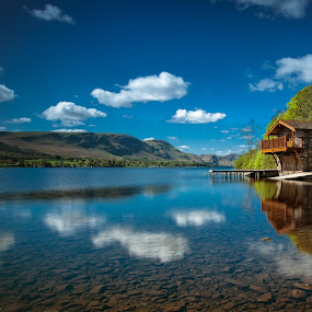 Reflections in the Lake by Andy Young - Landscapes Waterscapes ( clouds, uk, england, ulswater, blue sky, pooley bridge, cumbria, reflections, long exposure, duke of portland boat house, lake district )