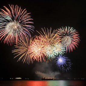 The Rainbows at Night by Rman Alfred Lorenzo - Abstract Fire & Fireworks ( fireworks photography, fireworks display, pyro olympics, fireworks, manila bay at night )