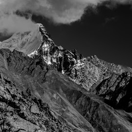 Top of the world by Akashneel Banerjee - Black & White Landscapes ( clouds, sky, mountain, nature, himalaya )