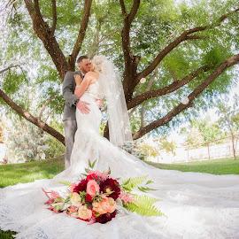 Bouquet and Lace by Melissa Papaj - Wedding Bride & Groom ( love, vows, lace, bouquet, wedding, train, couple, marriage, bride, groom )