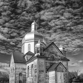 Restoring History by Joe Chowaniec - Black & White Buildings & Architecture ( religion, b&w, canada, church, black and white, places, architecture, landscapes, rural, abandoned )