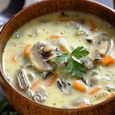 Creamy Soup With Rice And Mushrooms