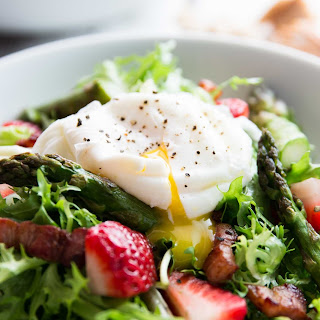 Asparagus, Bacon and Strawberry Salad with Poached Eggs