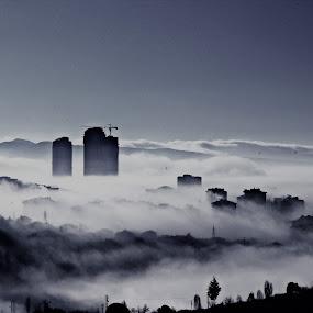 Sis by Recep Cenbek - City,  Street & Park  Skylines ( sis doğa, siyah beyaz, sis, bulut )
