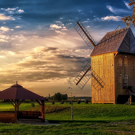 landscape with windmill by Tomasz Marciniak - Buildings & Architecture Public & Historical