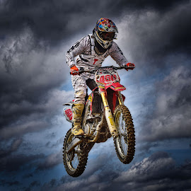 Flight MX460 by Marco Bertamé - Sports & Fitness Motorsports ( clouds, flying, red, motocross, speed, number, air, race, noise, 460, jump )