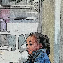 An adorable little girl at the carwash today. by Kathleen Koehlmoos - Digital Art People