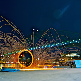 Steel wool with harbour bridge background by Adam Scarf - Abstract Light Painting ( harbour bridge, steel wool, sydney )