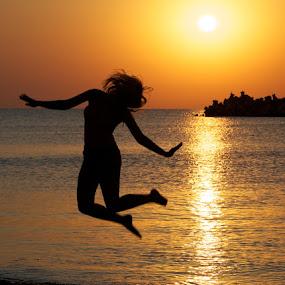 Sunrise jumping. by Aurel Virlan - People Fine Art ( sunrise jump. )