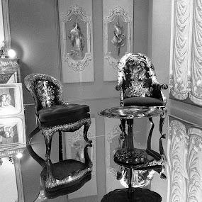 Musée des Arts Décoratifs by Pam Blackstone - Black & White Objects & Still Life ( reflection, chairs, art, glass, museum, musée,  )