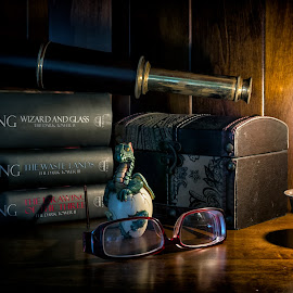 Horror Story by Scott Bryan - Artistic Objects Still Life ( candle, books, glasses, still life, dragon, candle light, artistic objects, objects )
