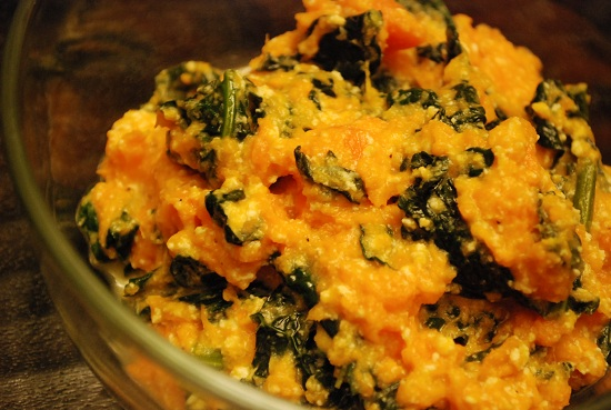 Kale and Goat Cheese Mashed Sweet Potatoes Recept | Yummly