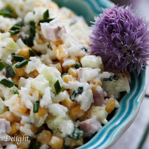 Rice Salad with Corn, Ham, Cucumber and Chives