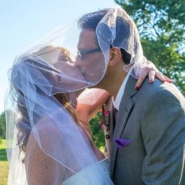 Veiled Kiss by Darrin Halstead - Wedding Bride & Groom ( kiss, wedding, bride, marriage, groom )