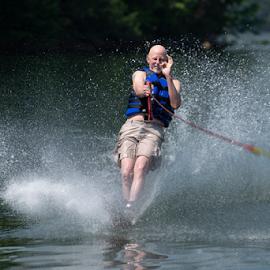 Slalom Skiing by Dav Akers - Sports & Fitness Watersports ( skiing, spray, sport, water, people )